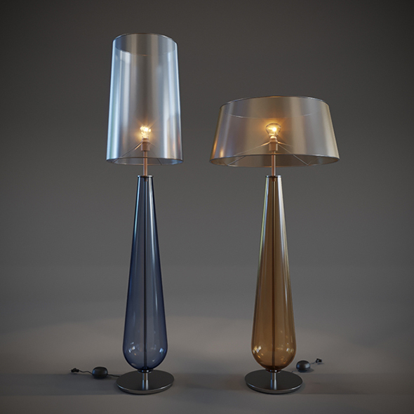 Vray Ready Glass Floor Lamp Collection - 3DOcean Item for Sale