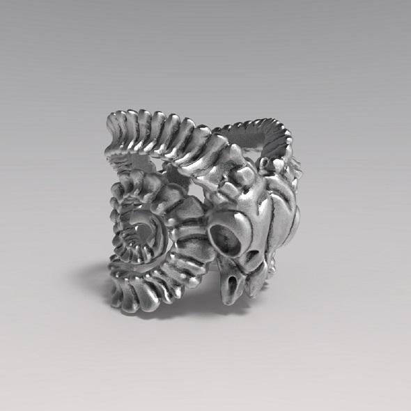 Goat Skull Ring - 3DOcean Item for Sale