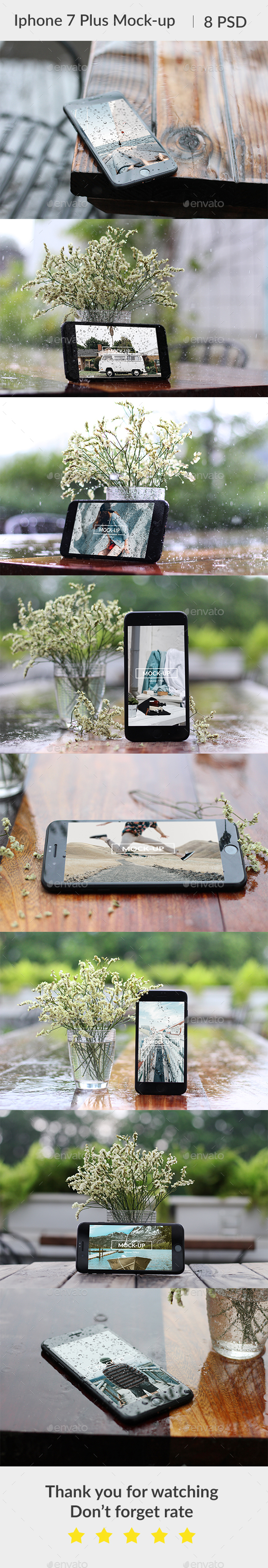 Phone 7 Plus Waterdrop Mockup - Mobile Displays