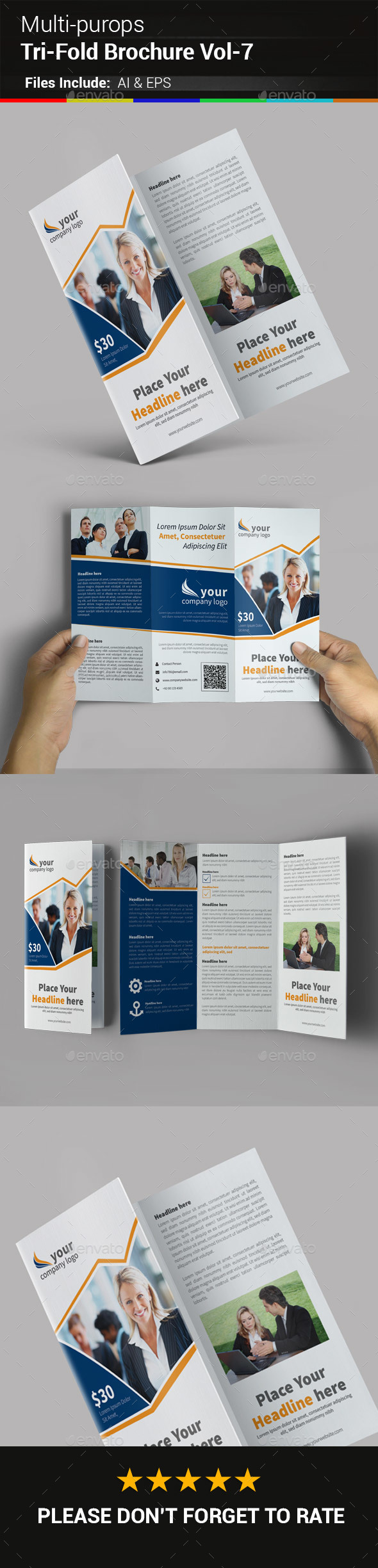 Multipurpose Business Tri-Fold Brochure Vol-7 - Corporate Brochures
