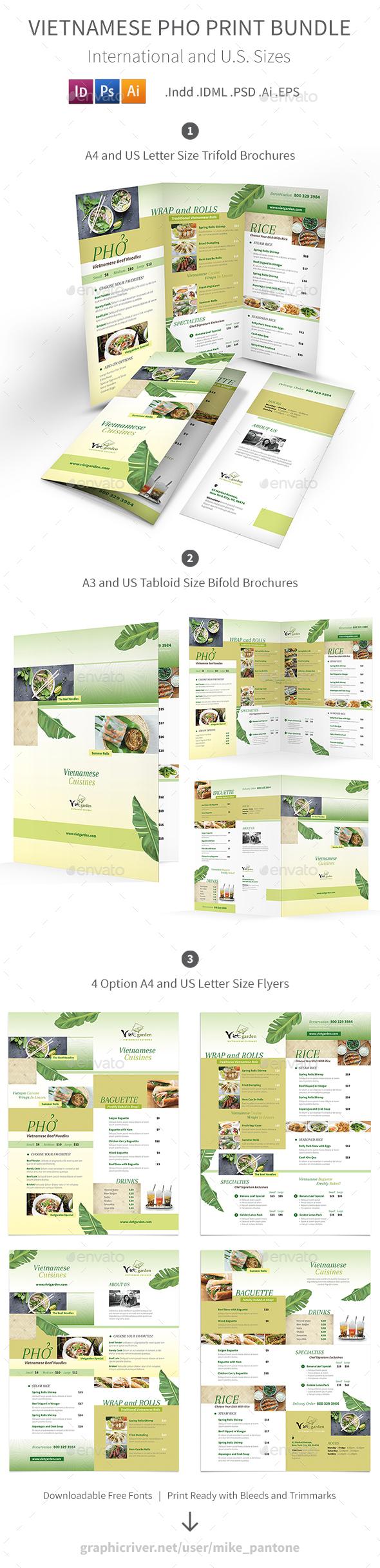 Vietnamese Pho Menu Print Bundle 3 - Food Menus Print Templates