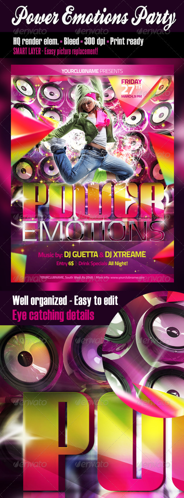 Power Emotions Party Flyer - Clubs & Parties Events
