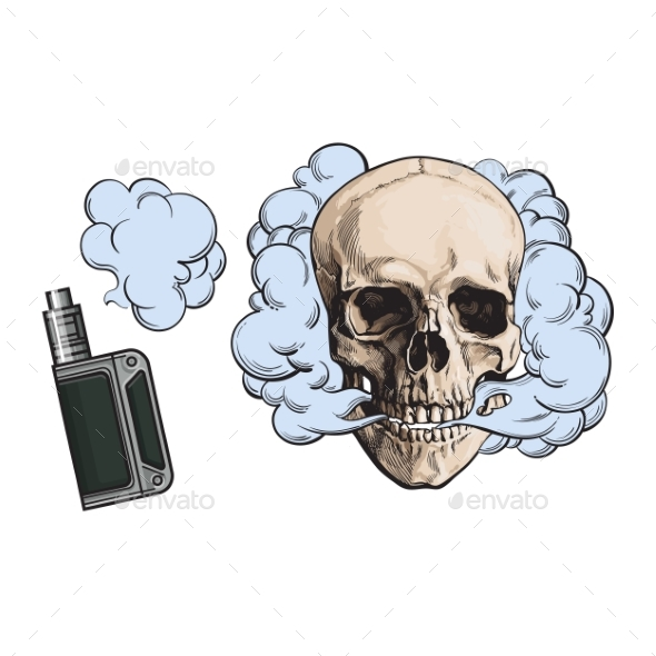Smoke Coming Out of Fleshless Skull and Vape - Miscellaneous Characters