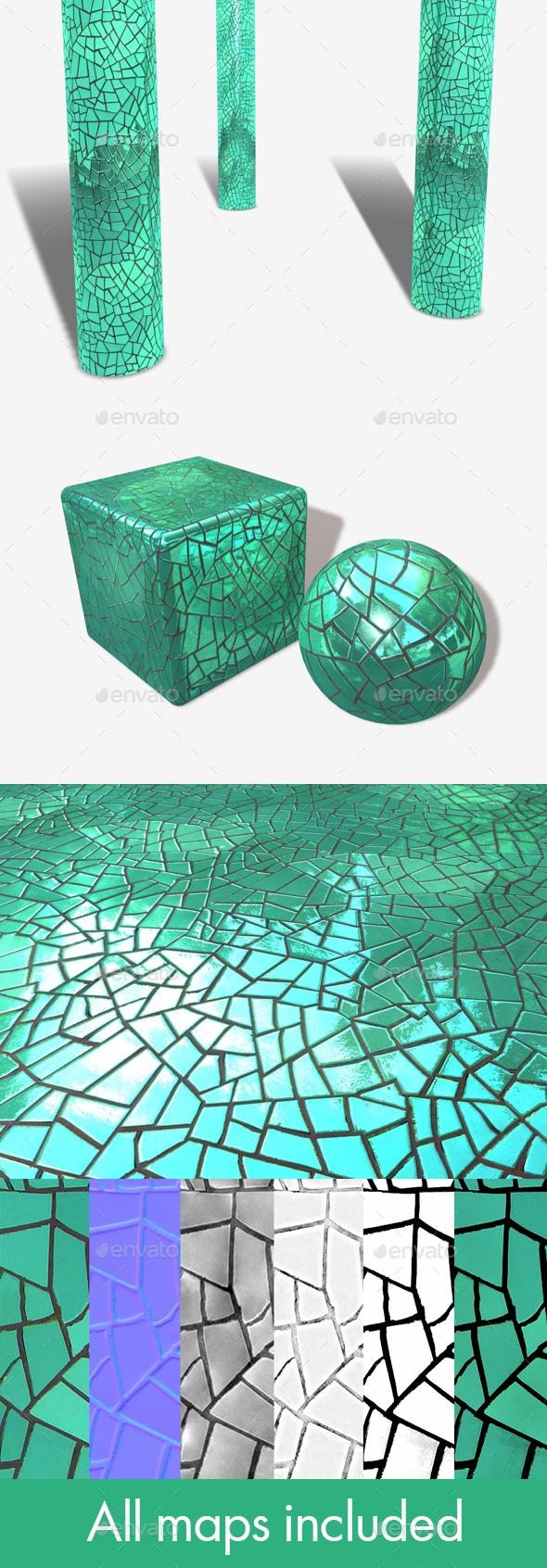 3DOcean Green Mirror Mosaic Seamless Texture 20319476