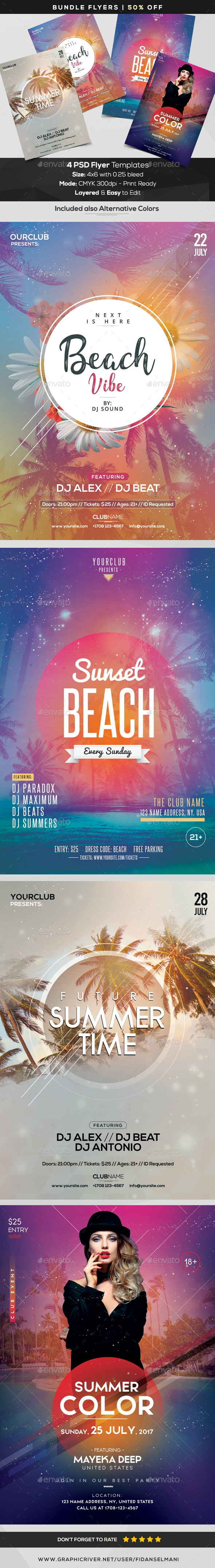 4 PSD Flyers - Summer Bundle - Clubs & Parties Events