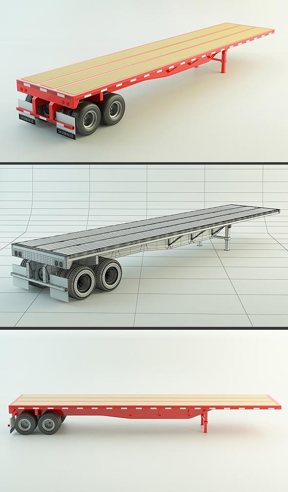 Flat Bed Trailer - 3DOcean Item for Sale