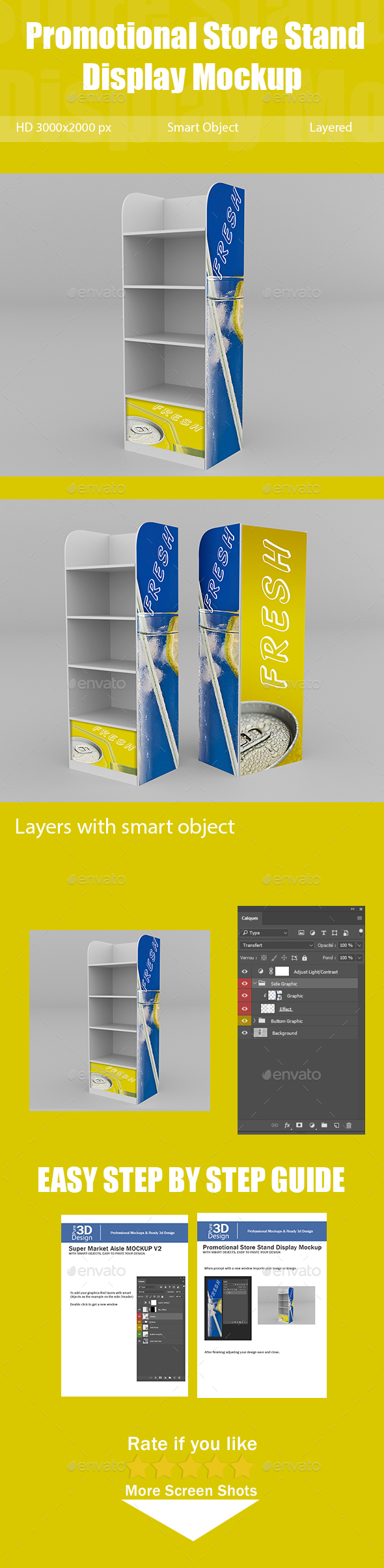 Promotional Store Stand Display Mockup - Multiple Displays