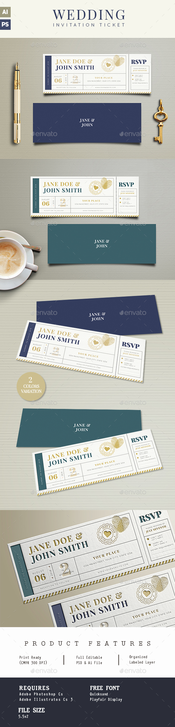 Wedding Invitation Ticket - Wedding Greeting Cards