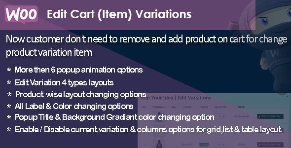 WooCommerce Edit Cart Item Variations (Products)
