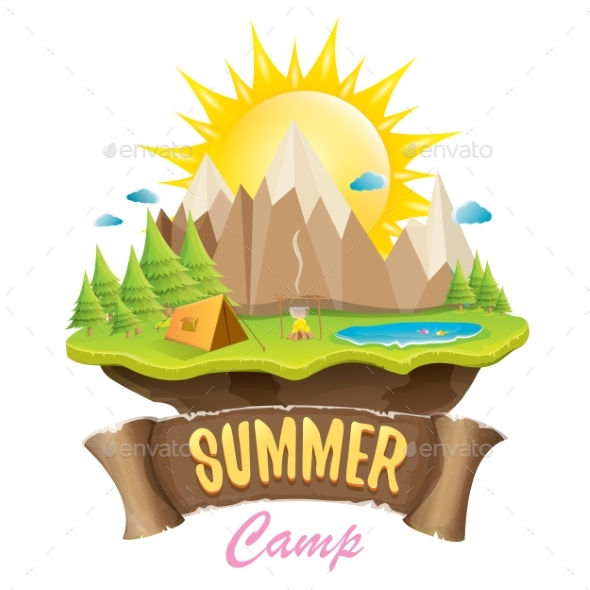 Vector Summer Camping Concept Illustration - Landscapes Nature