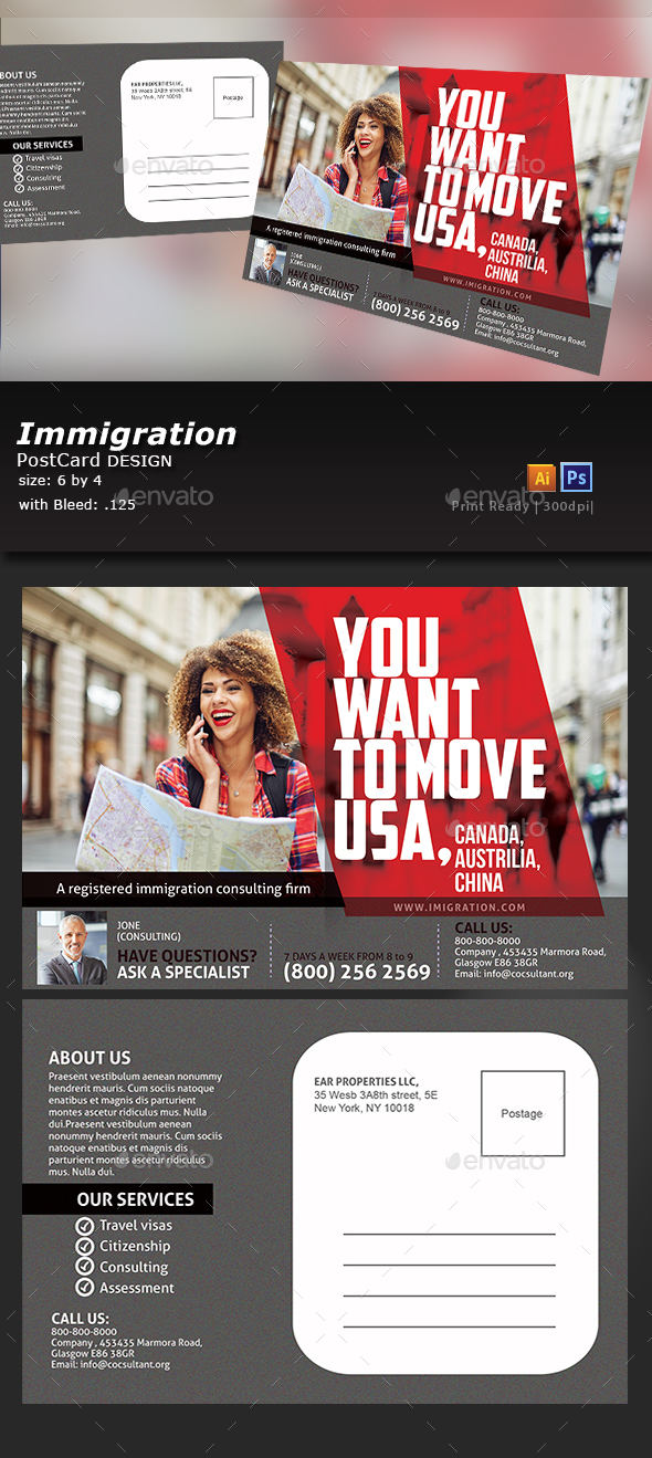 Immigration PostCard - Flyers Print Templates