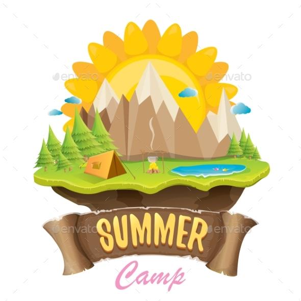 Vector Summer Campinng Concept Illustration - Landscapes Nature