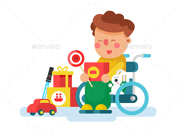 Boy in a Wheel Chair with Toys - People Characters