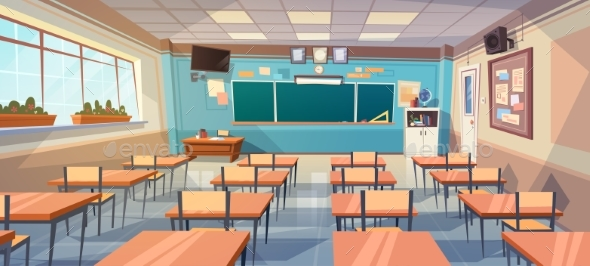 Empty School Class Room Interior Board Desk - Miscellaneous Vectors