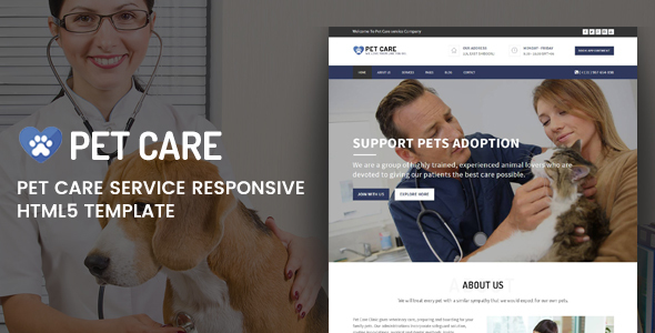 Pet Care - Responsive HTML5 Template