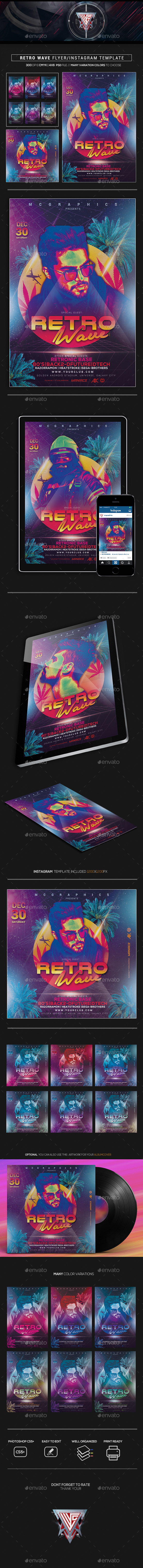 Retro Wave Flyer/Instagram Template - Flyers Print Templates