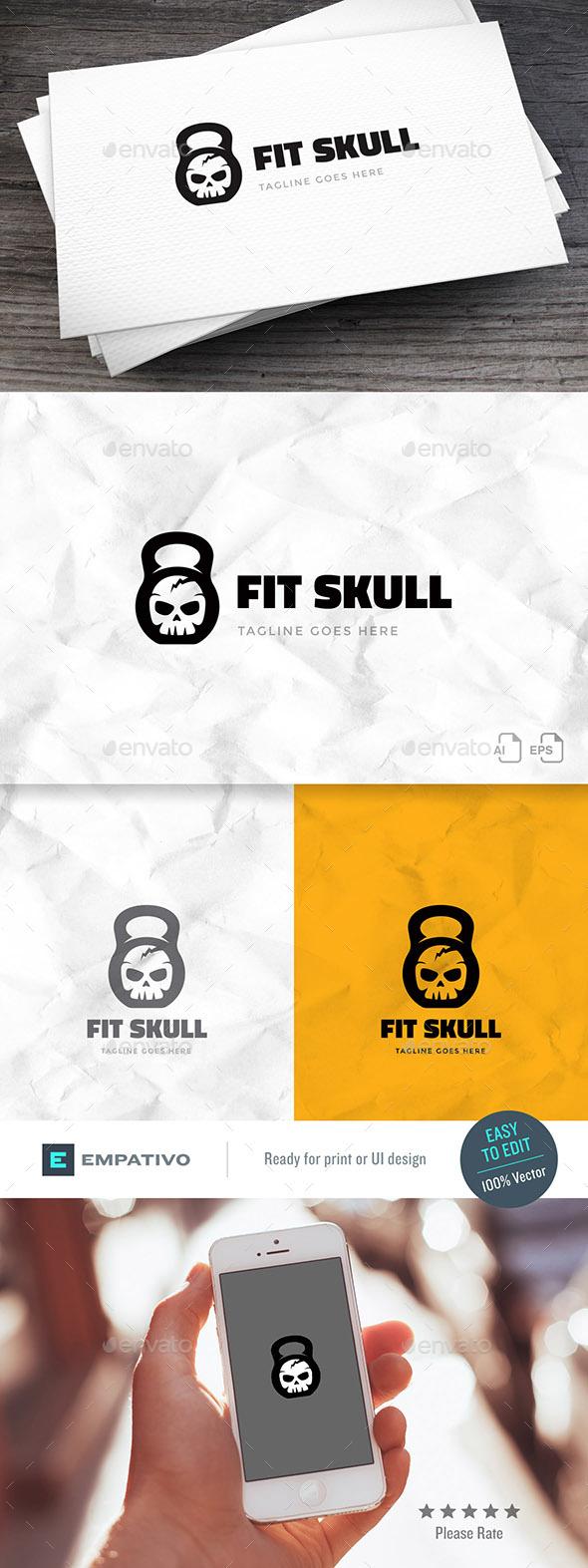 GraphicRiver Fit Skull Logo Template 20320625