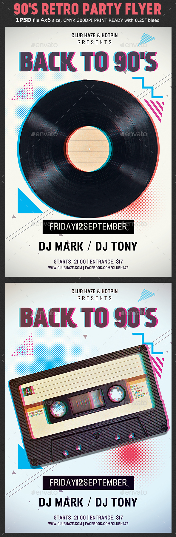 90s Retro Party Flyer Template - Clubs & Parties Events