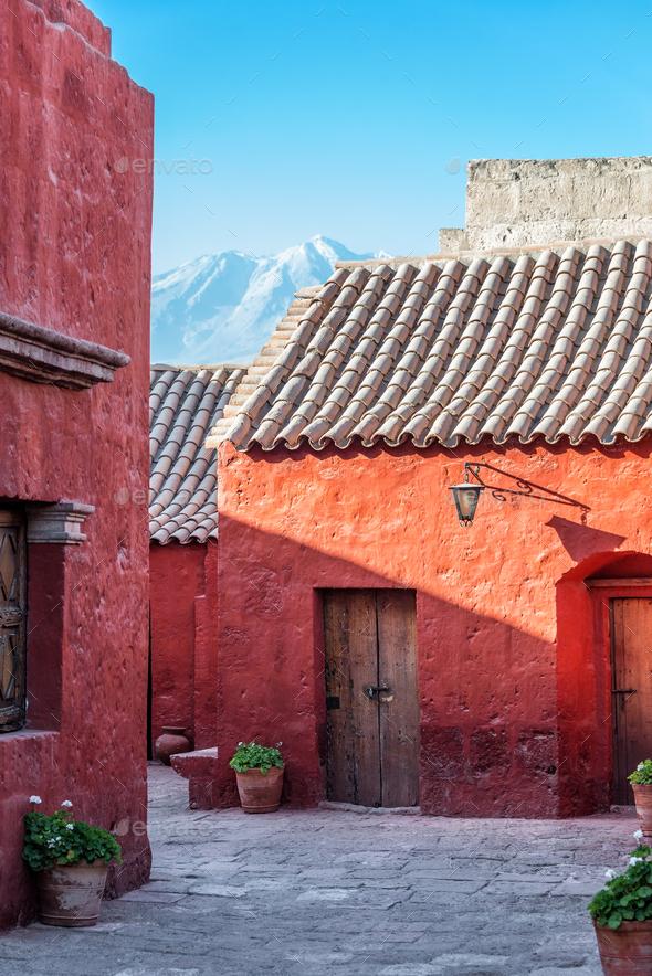 Santa Catalina Monastery and Volcano - Stock Photo - Images