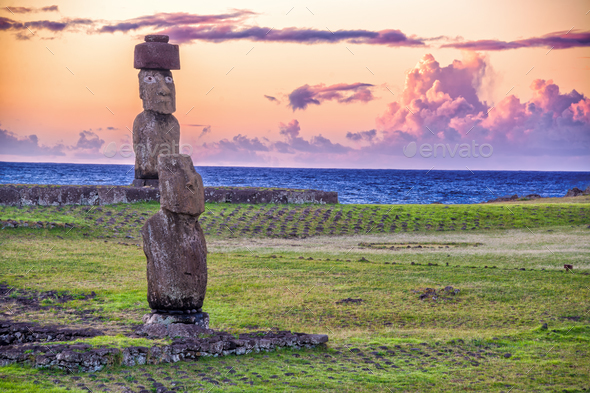 Moai Statues at Sunset - Stock Photo - Images