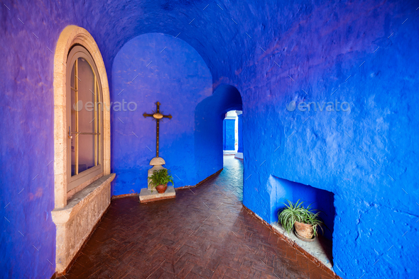 Blue Monastery Interior - Stock Photo - Images