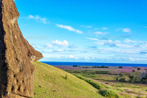 Single Moai - Stock Photo - Images