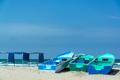 Blue Boats on Canoa Beach - PhotoDune Item for Sale
