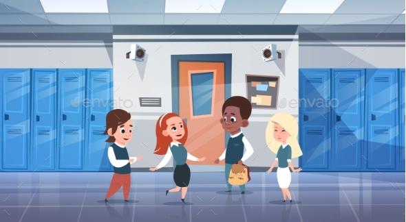 Group Of Schoolchildren In School Corridor Mix - Miscellaneous Vectors