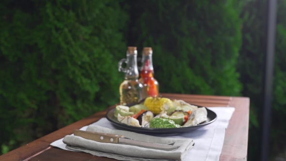 VideoHive Grilled Vegetables with Fish and Pesto Sauce Are Served on the Table Outdoors Grill and Barbecue 20320910