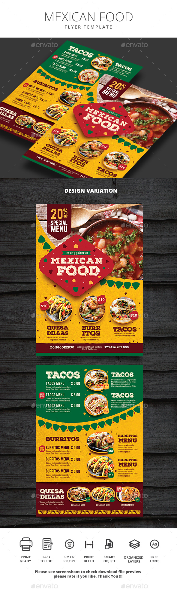Mexican Food - Food Menus Print Templates