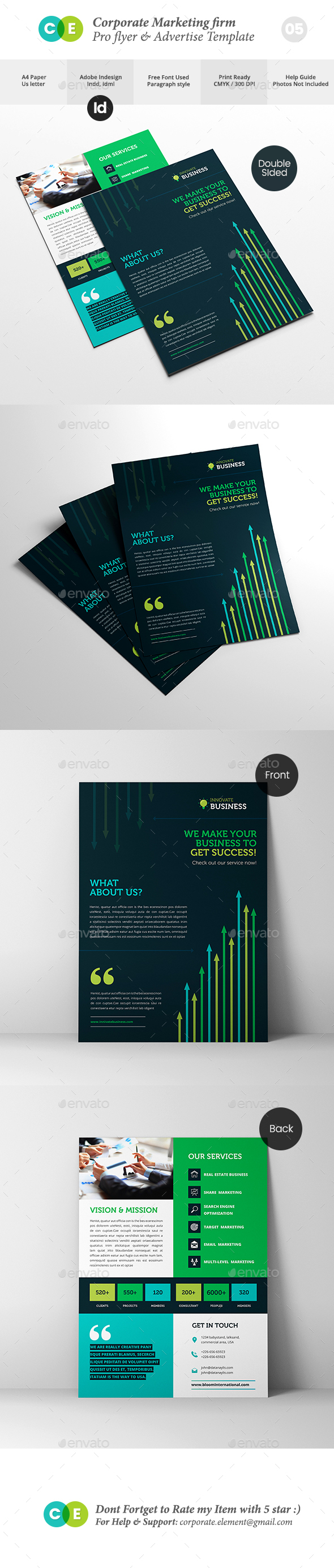 GraphicRiver Corporate Marketing Firm Pro Double Sided Flyer V05 20321606