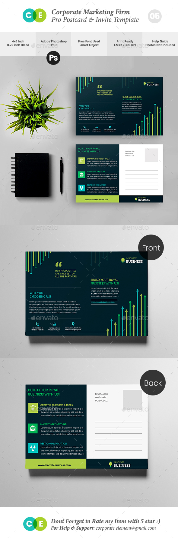 Corporate Marketing Firm Pro Postcard Invite  V05 - Cards & Invites Print Templates