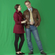 Male and Beautiful Brunette Girl are Standing, Smiling, Talking. Green Screen Studio - VideoHive Item for Sale