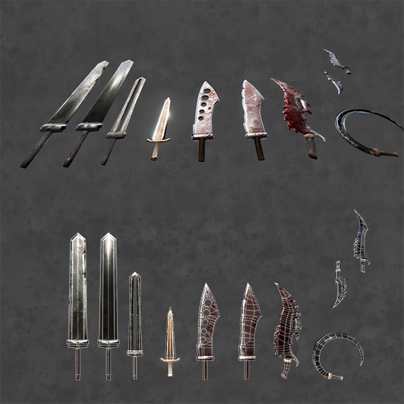 PBR fantasy swords - 3DOcean Item for Sale
