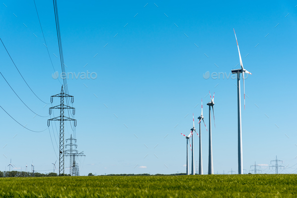 Wind turbines and power transmission lines in Germany