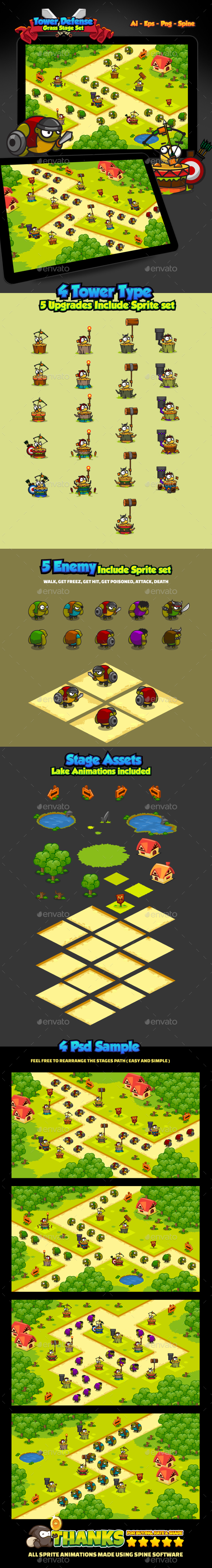 Tower Defense Grass Pack - Game Kits Game Assets