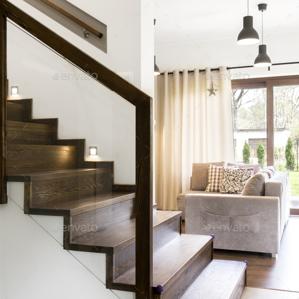 Wooden stairs in elegant houe - Stock Photo - Images