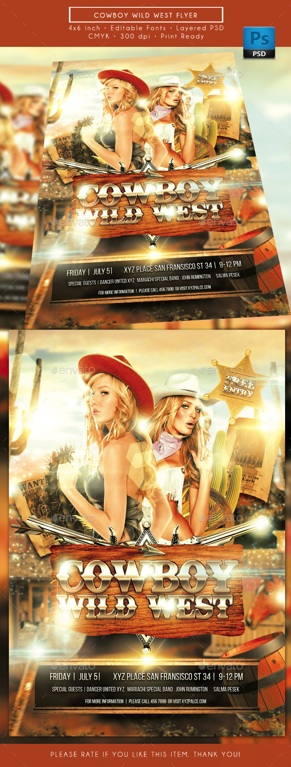 Cowboy Wild West Flyer - Clubs & Parties Events