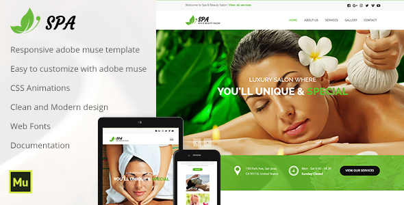 Spa - Responsive Spa & Beauty Template - Muse Templates