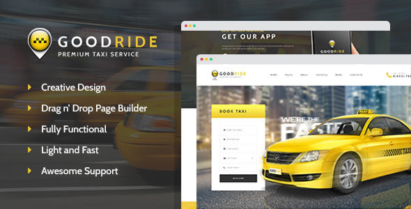 Image of Good Ride - Taxi Company, Cab Service WordPress Theme