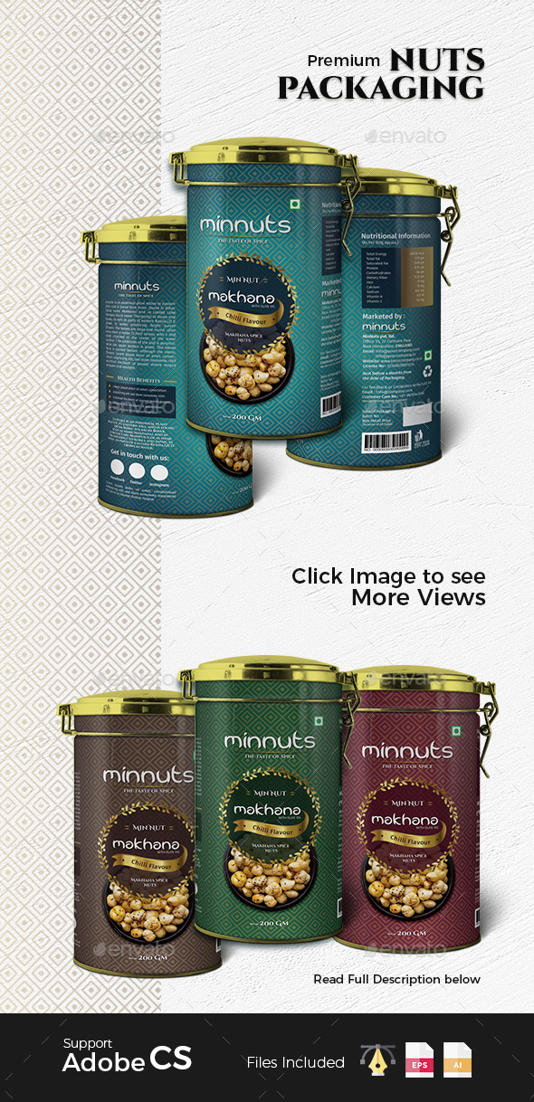 Premium Nuts Packaging Label - Packaging Print Templates