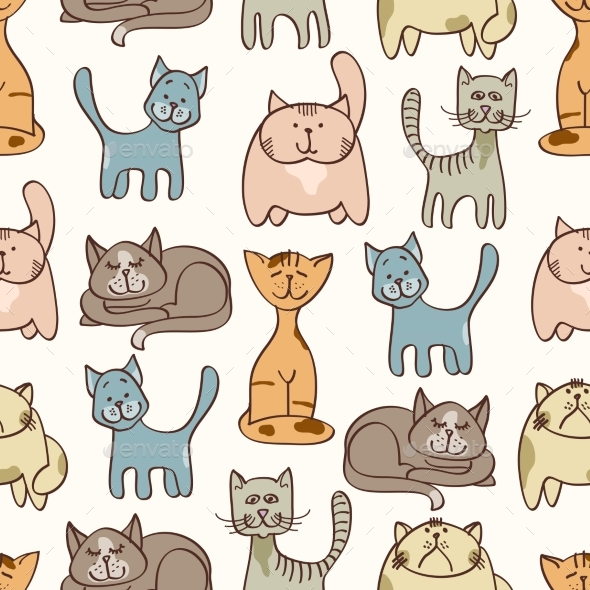 Hand Drawn Cute Cats Seamless Pattern - Pets