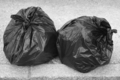 Two black garbage bags on the ground. Recycle. Ecology