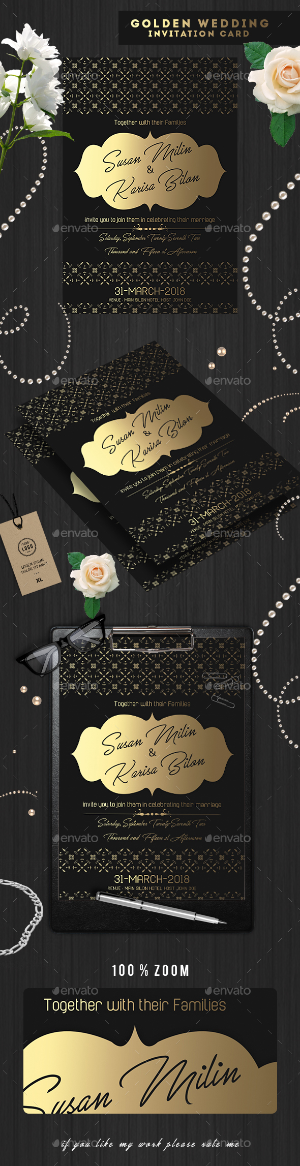 GraphicRiver Golden Wedding Invitation Cards 20322781
