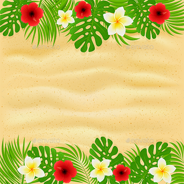 Frame of Palm Leaves and Flowers on Sandy Background - Flowers & Plants Nature