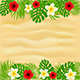 Frame of Palm Leaves and Flowers on Sandy Background