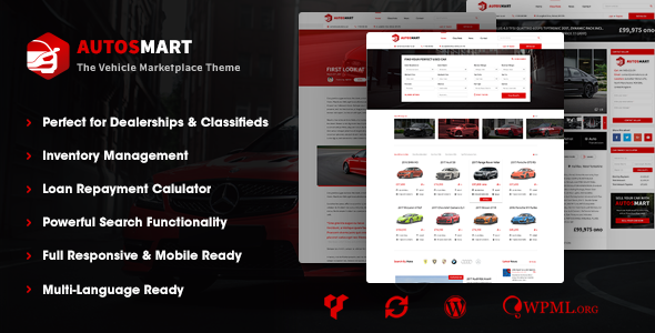 AutosMart - Automotive Car Dealer WordPress Theme - Directory & Listings Corporate