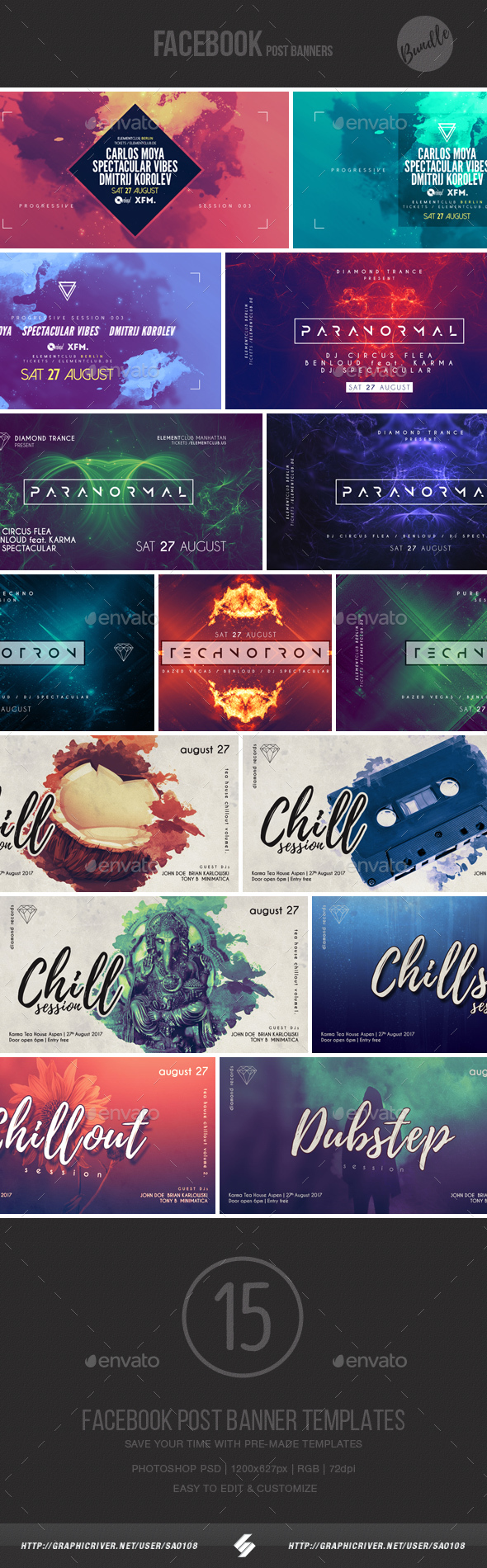 Electronic Music Event Facebook Post Banner Templates Bundle 5 - Social Media Web Elements