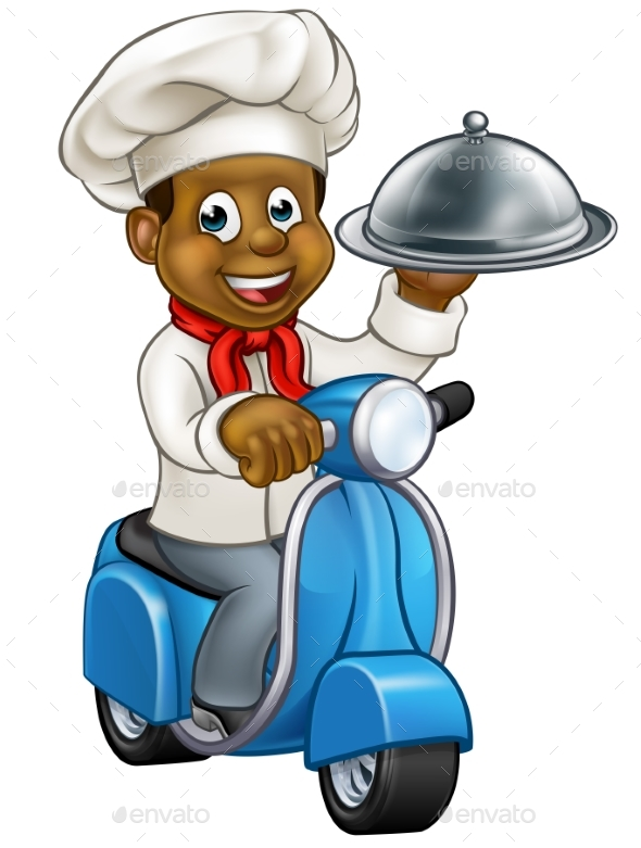 Cartoon Black Chef on Moped Scooter