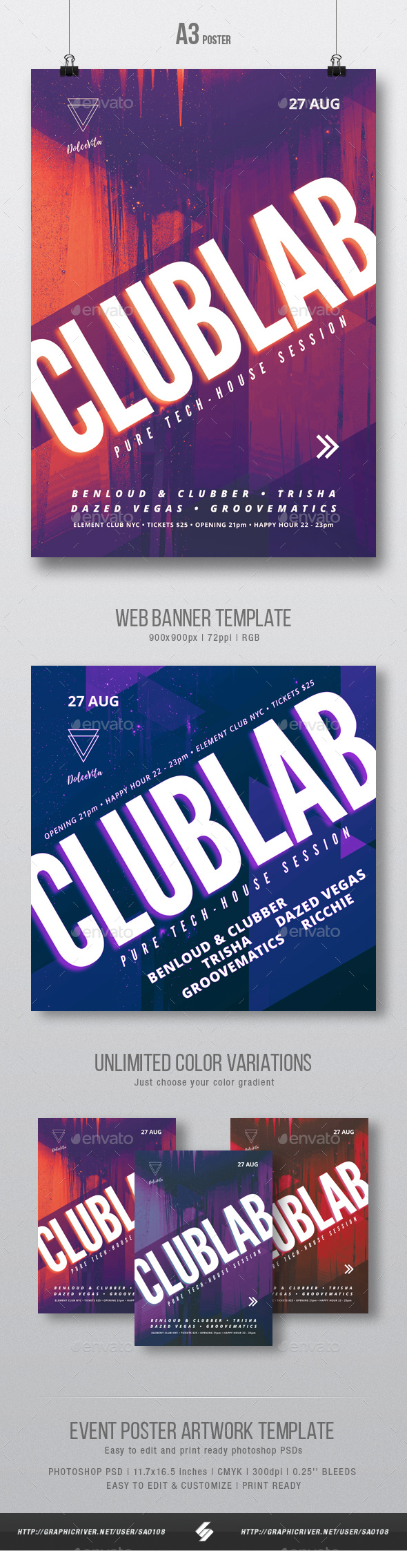 Clublab - Club Party Flyer / Poster Artwork Template A3 - Clubs & Parties Events